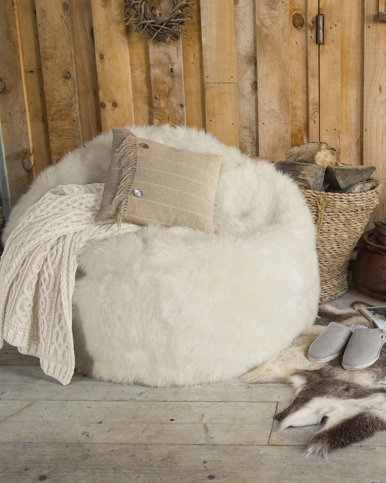 Fluffy Bean Bag Chairs | Giant Bean Bag Couch | Sheepskin Beanbag