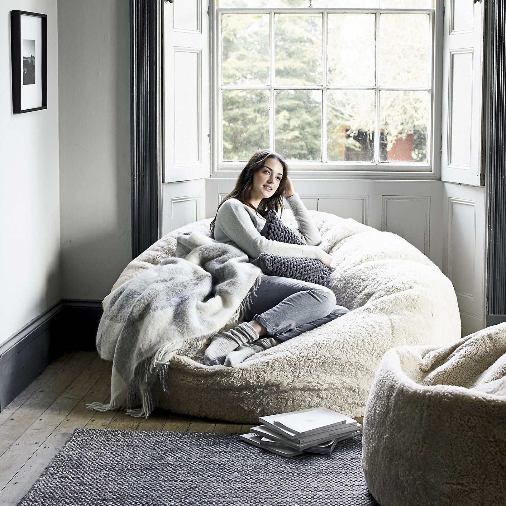 Fluffy Bean Bag Chairs | Large Bean Bag Pillow | Sheepskin Beanbag