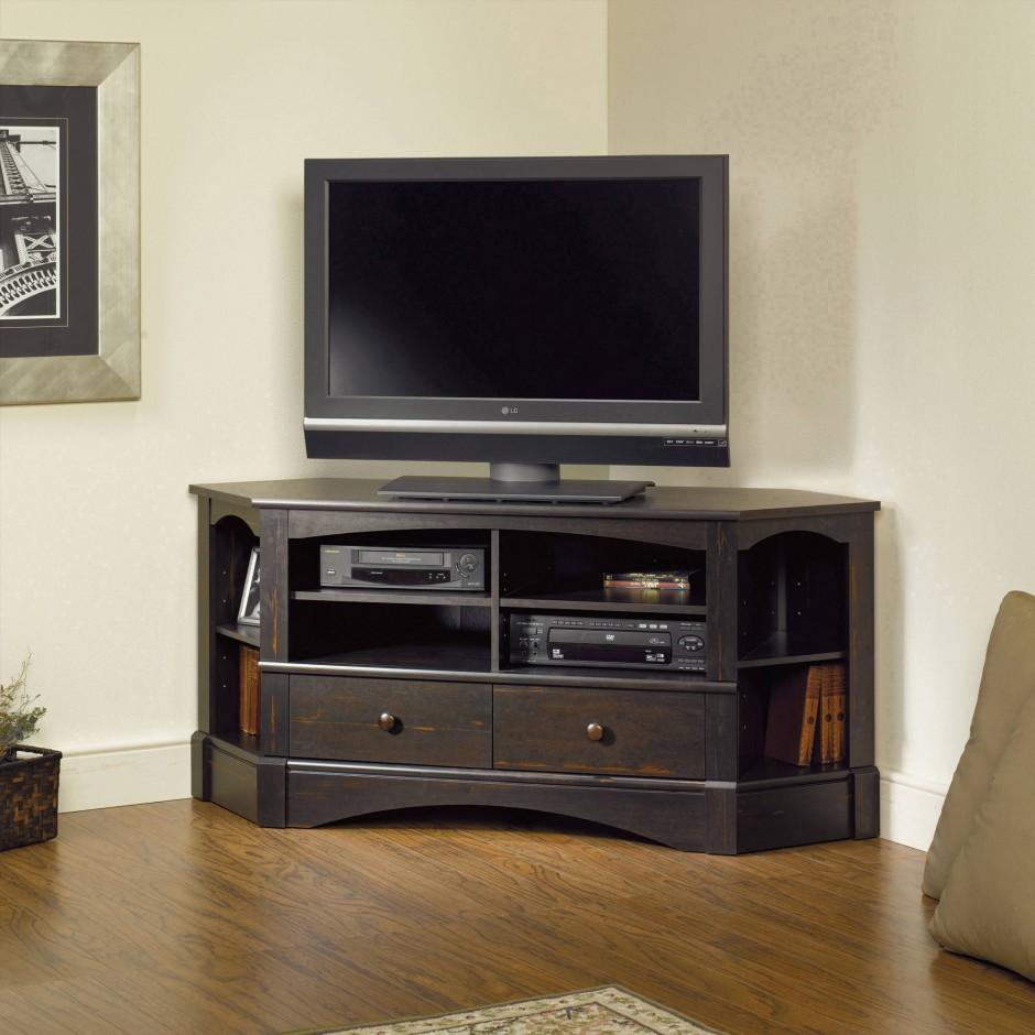 Sauder Tv Stands   Black Glass Tv Stand With Bracket   Shuttered Door Tv Stand