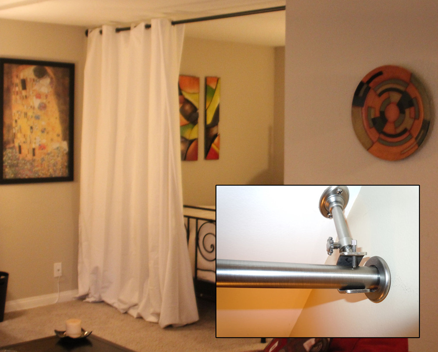Tension Rod Room Divider | Curtain Room Dividers Diy | 96 Inch Tension Curtain Rod