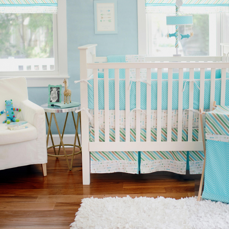Aqua Crib Bumper | Navy Crib Bumper | Crib Bumper Pads