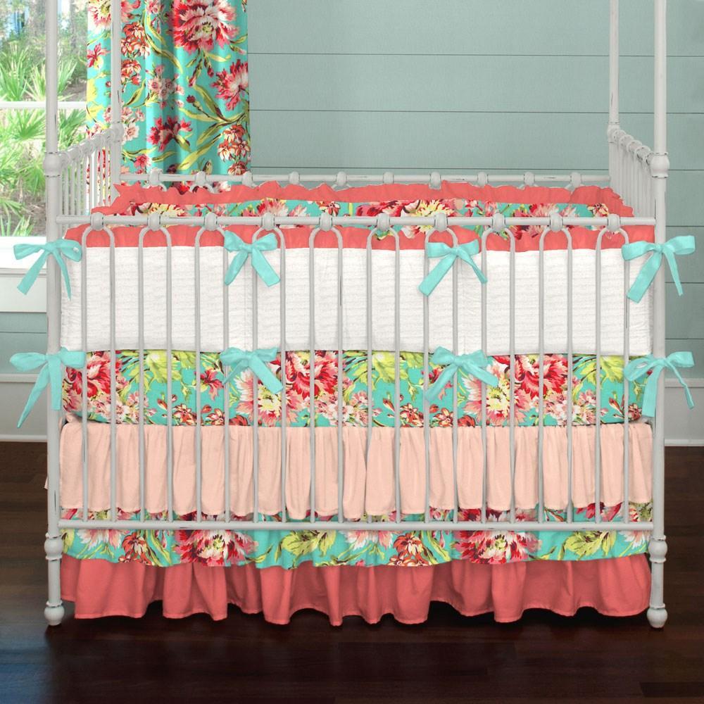 Charming Crib Bumper Pads for Wonderful and Cozy Crib Ideas: Baby Bed Bumpers | Crib Bumper Pads | Aqua Crib Bumper