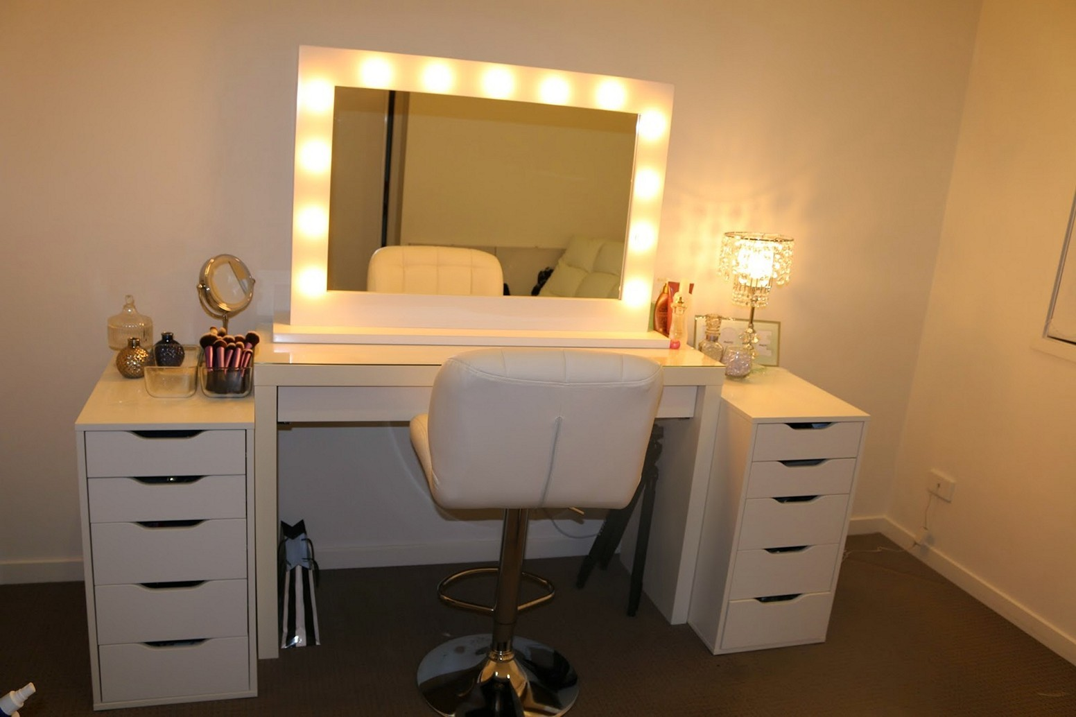 furniture & rug: fancy makeup vanity table with lighted mirror for