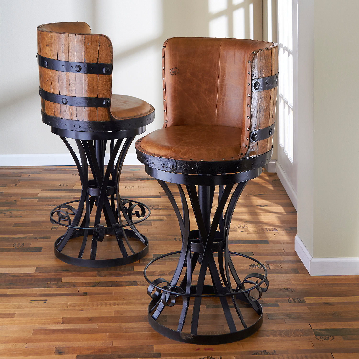 Cane Back Bar Stools | Seagrass Bar Stools | Bar Stools with Arms