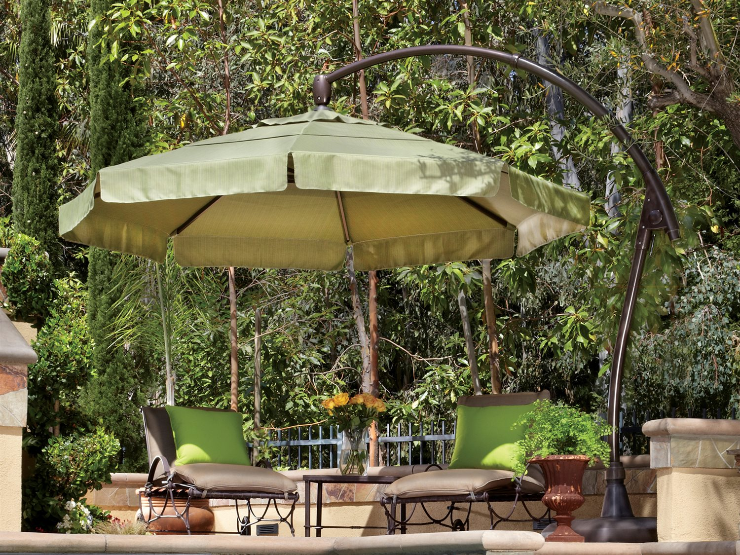 Garden Treasures Offset Umbrella | Patio Umbrella Replacement Canopy | Large Outdoor Umbrella