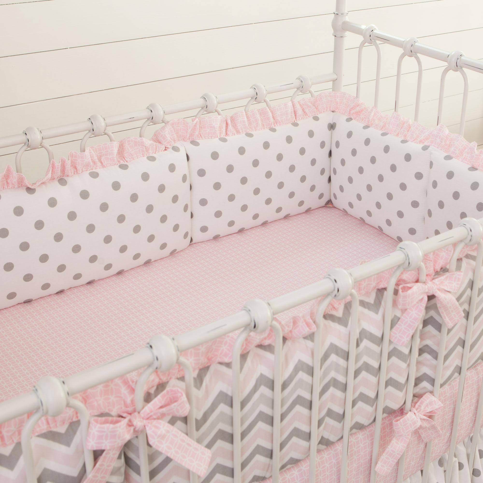 Mesh Crib Liner | Crib Bumper Pads | Coral and Navy Crib Bedding