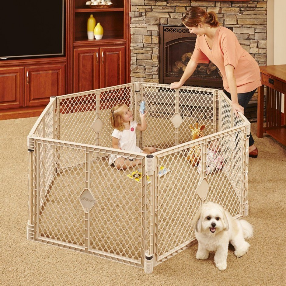 North States Superyard | Play Yard Gate 8 Panels | 6 Sided Baby Gate