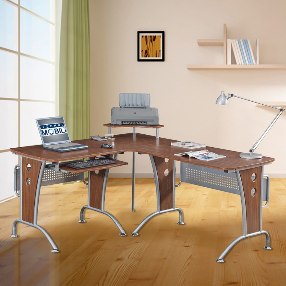 Techni Mobili Glass Top Computer Desk | Techni Mobili | Techni Mobili L Shaped Desk