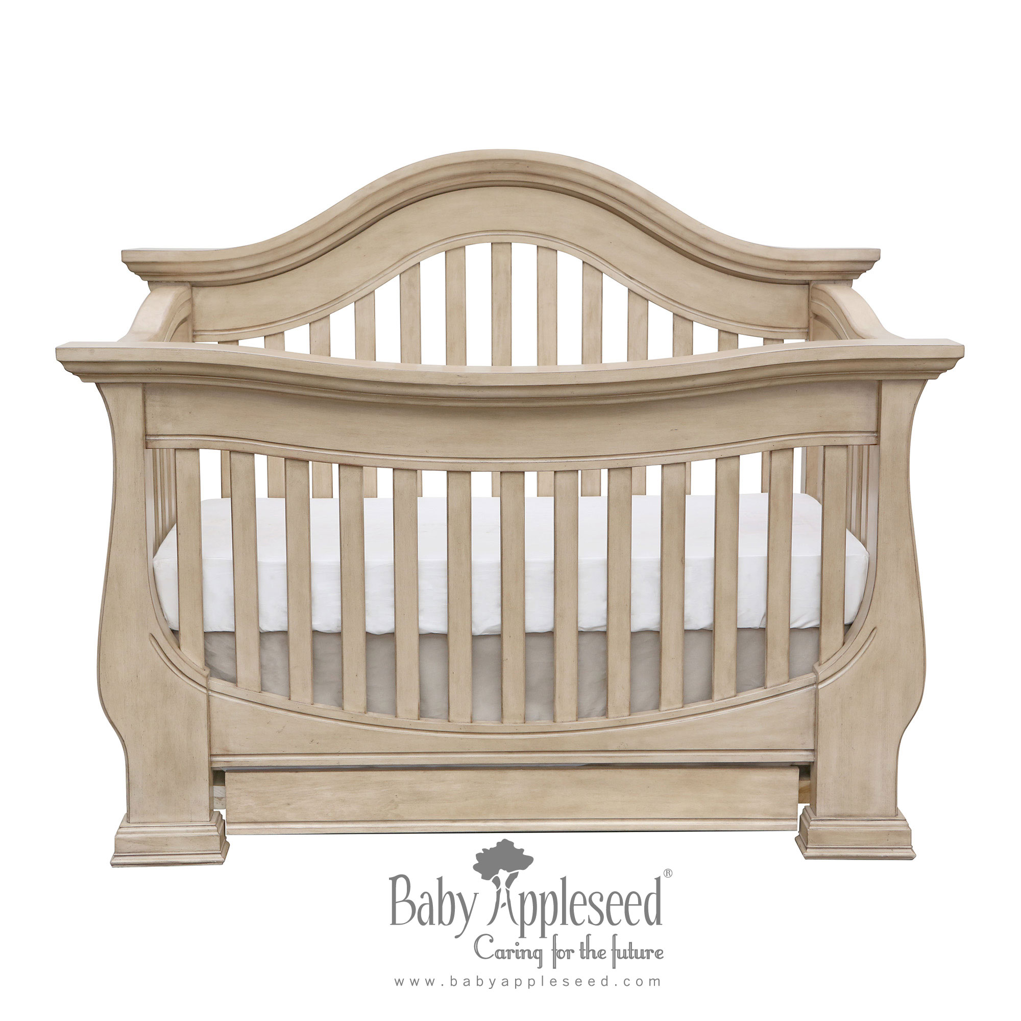 Baby Cache Heritage Lifetime Convertible Crib | Baby Cache White Dresser | Baby Cache Toddler Rail