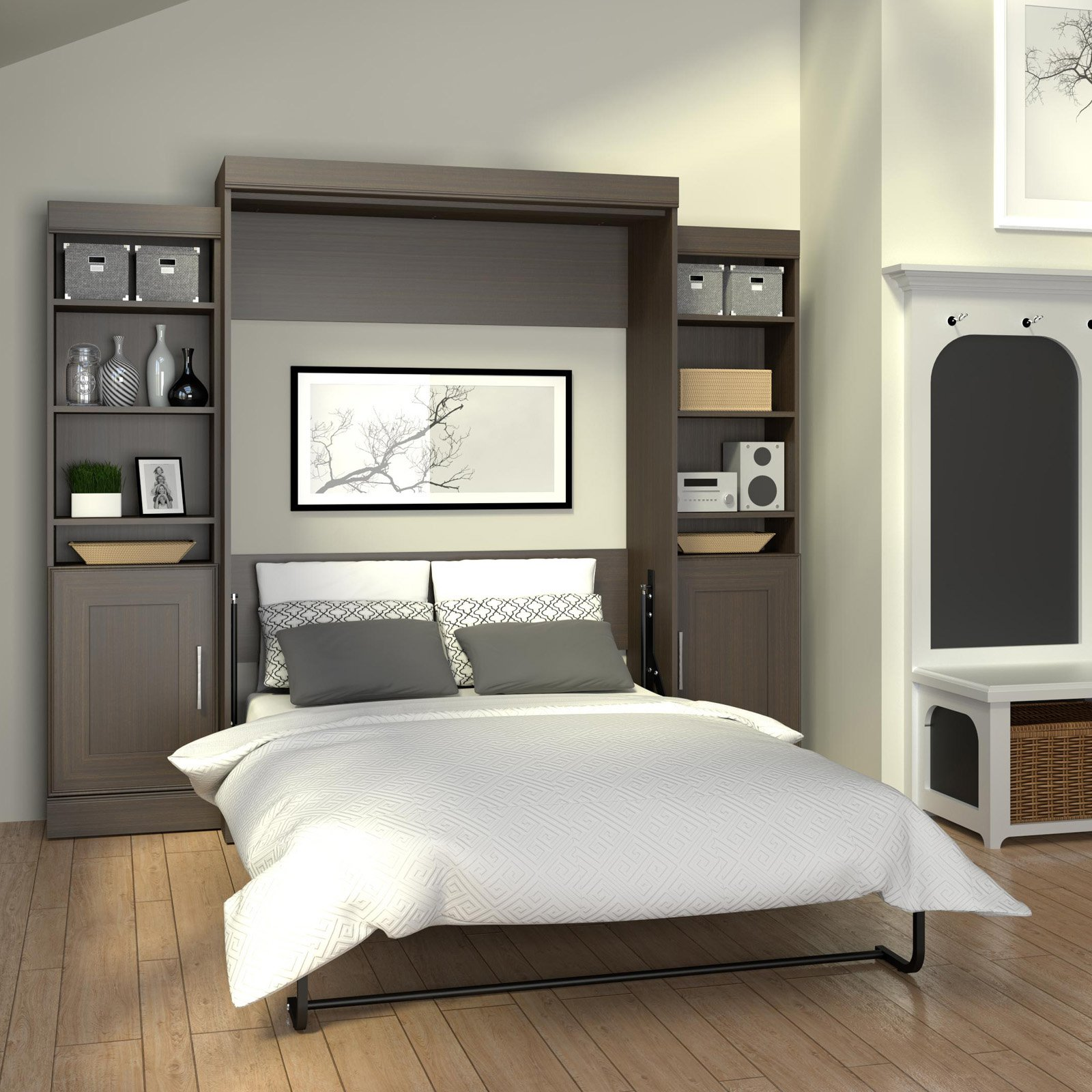 Attractive Bestar Wall Bed for Modern Bedroom Furniture Idea: Install Murphy Bed | Wall Mounted Headboards For King Size Beds | Bestar Wall Bed